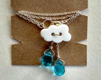 Raindrop necklace - cloud necklace - girl necklace - chain necklace with charm - rain necklace - button necklace - gift for girls -