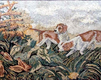 Dogs in the field  Marble Mosaic