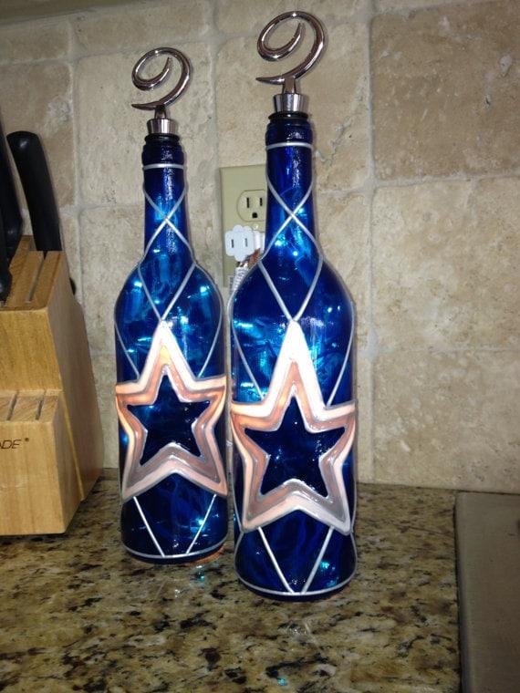 Dallas Cowboys Wine Bottle Lamp