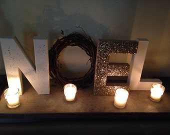 Noel Letters, Rustic Christmas Decor, Mantle Decoration, Wood Letters