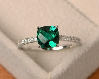 Emerald ring, green emerald ring, green engagement ring, sterling silver, anniversary ring, cushion cut