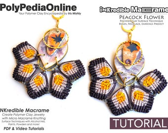 Macrame Jewelry, Macrame Gift, How to Macrame, Fimo Jewelry, DIY Bridal Jewelry, DIY Macrame, Polymer Clay, Earring Pattern, Craft, Tutorial