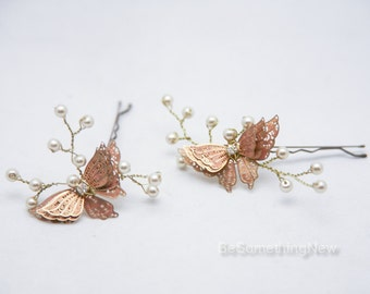 Wedding Hair Pins Butterfly and Champagne Pearl Bridal Hair Pin Set, Brass Butterfly Bobbie Pins Hair Jewelry Beaded Headpiece