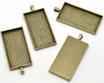"2 Large Rectangle Pendant Bezel Trays, bronze metal, Frame for resin or glass, 2"" long, chb0310"