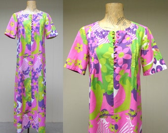 Vintage 1960s Maxi Dress / 60s Cotton Boho Dress Psychedelic Flower Power Print / Small - Medium