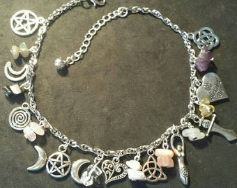 Pagan wiccan pagan symbol anklet jewelry-jewelry-wicca-witch-Paganism-natural stone