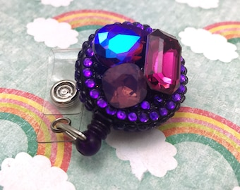Bling Sparkly Rhinestone Gemstone Glam Resin Fairy Kei Badge Reel Retractable Work ID Holder Nurse CNA RN Technician CPhT Purple Goth