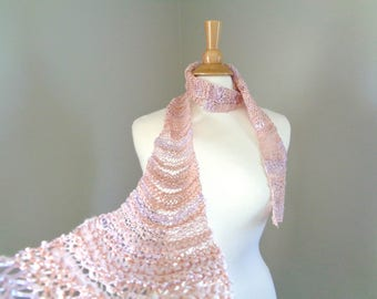 Skinny Art Scarf with Lacy Texture, Champagne Pink, Long Thin Scarf, Hand Knit Fashion, Pink Peach Lavender, Women Teen Girls
