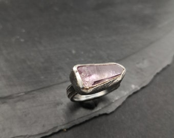 Amethyst Crystal Ring Statement Rustic Handmade Nature Jewelry Gemstone ring  Raw Gemstone  Boho OOAK Gift for her Tribal Silver ring