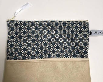 Faux leather and cotton makeup pouch