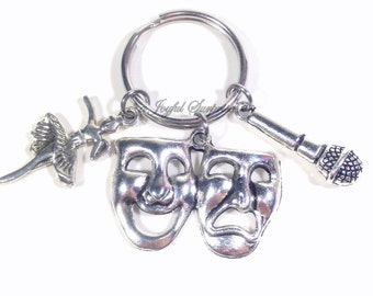 Triple Threat Keychain, Sing Act Dance Key Chain, Dancer Actress Actor Singer Charm, Gift for Performer Keyring Theater Jewelry drama 225