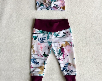 Purple and Floral baby leggings and Headband, available in sizes newborn-18/24 months