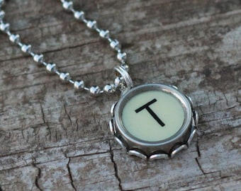 Letter T Necklace, Vintage Typewriter Key, Personalized Initial Pendant, Mother Gift Idea