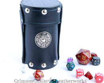 Black dice cup by Crimson Chain Leatherworks