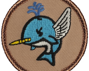 Flying Narwhal Patch (776) 2 Inch Diameter Embroidered Patch