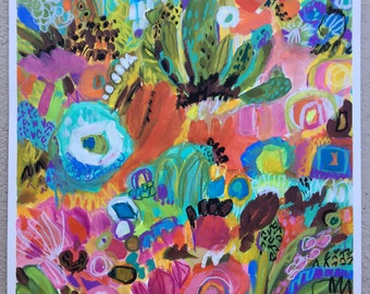 Bohemian Abstract Mixed Media Painting 18 x 24 by Karen Fields