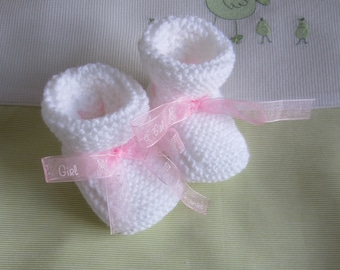 Booties baby white and Pink Ribbon - hand made knit