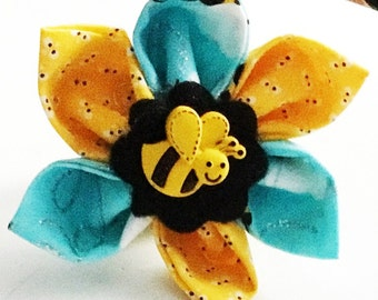 Yellow & Blue Bumble Bee Flower for Dogs and Cat Collar