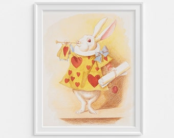 Alice in wonderland painting watercolour with pencil detail, white rabbit art, Digital Download, nursery decor