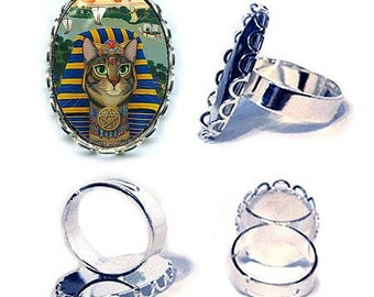Egyptian Pharaoh Cat Ring Egypt Cat Bastet King Silver Cat Ring Fantasy Cat Art Cameo Ring 25x18mm Gift for Cat Lovers Jewelry
