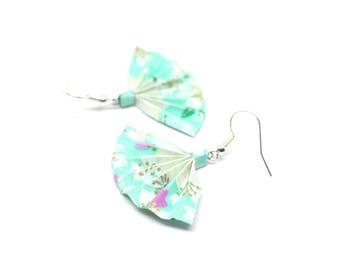 Mint green fan origami earrings Japanese paper
