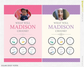 """Polka Dot Korean Dohl First Birthday Poster (20x30"""") Party / Customized Printable Download"""