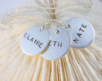 Hand Stamped Personalized Necklace Sterling Silver
