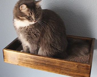 Cat Wall Bed/Shelf Floating Stained Wood Style
