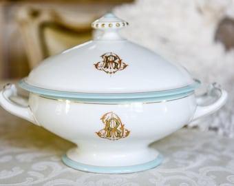 Antique French Porcelain Monogrammed Tureen, Pale Blue Trim