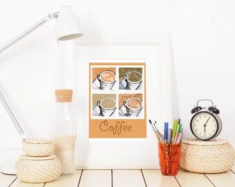 Kitchen Coffee Bar - Bakery Decor - Coffee Poster Art - Housewarming Gift - Hostess Gift - Cappuccino - Coffee Bar Decor - Coffee Wall Art