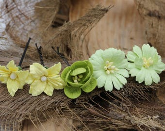 Set of 5   Green Yellow Mulberry Paper Flower Hair Pins , Bridal Hair Pins, Hair Bobby Pins,U pins,Prom,Bridal Hair Pins (FL379)