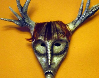 Paper mache mask. Deer Owl. Red. Free shipping.