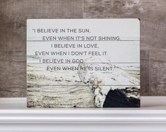 Wood Plank Sign: Believe In Quote Wood Plank, Inspirational Quote, Inspirational Wall Art, Typography Wall Art, I Believe in God Quote.