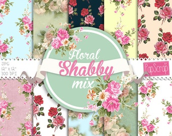 """Shabby chic digital paper : """"Floral Shabby mix"""" floral digital paper with shabby roses on rustic background, decoupage paper"""