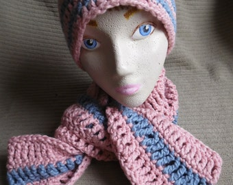 Organic Cotton Clothing Pink and Blue, Striped Beanie & Infinity Scarf, Organic Cotton, Strawberry and Dusty Blue