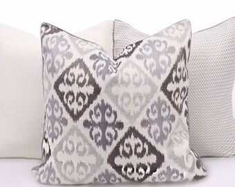 Cream/Gray/Blue Pattern Pillow Cover
