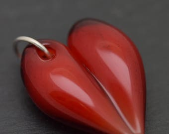 Deep red heart pendant