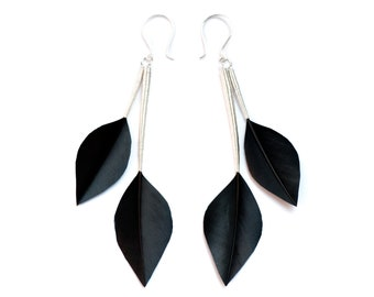 Minimalist Feather Earrings in Leaf Shapes with Silver Stems in Jet Black