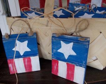 rustic wooden american flag ornament, patriotic ornament, rustic flag ornament, wooden americana home decor, american country home decor