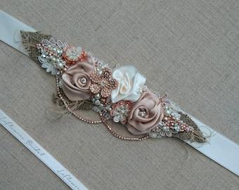 Bridal belt Rose Gold Bridal belt sash Rustic sashes belts for bride Flower belt sash Floral sashes belts Narrow thin belt Burlap sash belt