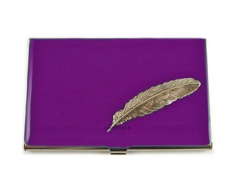 Ravens Feather Inlaid in Hand Painted Enamel Purple Orchid Opaque Glossy Finish Metal Wallet Personalized and Custom Color Options