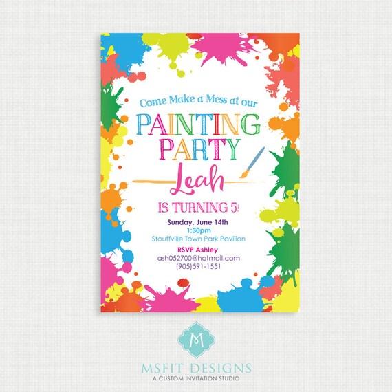 Paint Party Birthday Invitation- Painting Birthday Printable,  Birthday Party Invitations, DIY,  Printable Template, Birthday
