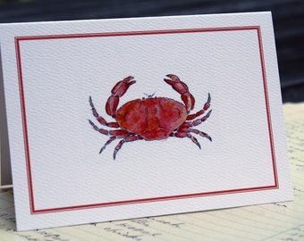 Orange Crab Notes Notecards Thank You Notes, Set of 8. Handmade Notecards Greeting Cards Packaged