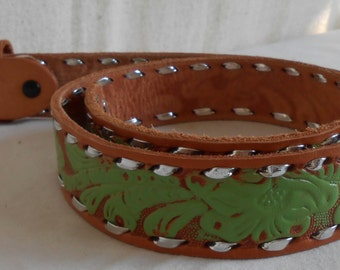 Vintage Tooled Leather Belt with Lime Green and Silver Lacing