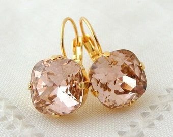 Blush drop earrings,Blush Pink dangle earrings,Blush pink bridal earrings,blush pink bridesmids earring,Swarovski,blush pink wedding,crystal