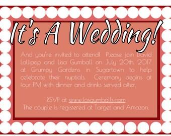 Wedding Invitation Red w/ White Circles