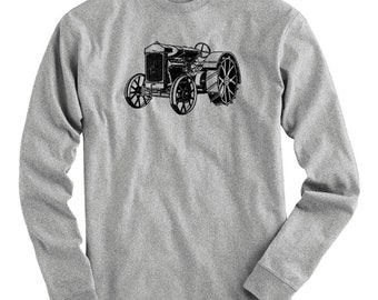 Tractor V1 Tee - Long Sleeve T-shirt - Men S M L XL 2x 3x 4x - Farming Shirt, Farmer Shirt, Farm Equipment, Vintage Shirt, USA, Tractor Art