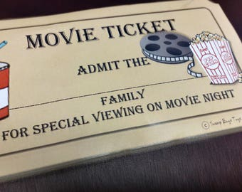 Printable Movie Ticket Gift Tag Label