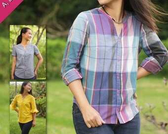 Blouse PDF Sewing Pattern: Bonn Shirt and Shirt Dress for Women