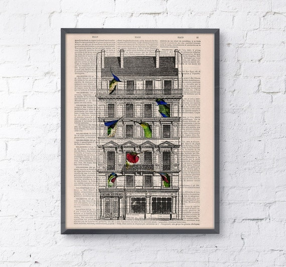 book print Bird House Print on Vintage Book page perfect gift altered art dictionary illustration book print ANI123